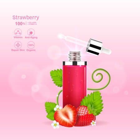 Strawberry Red Serum Extract and Collagen Vitamin Vector for Skin Care Cosmetic and Beauty Products.
