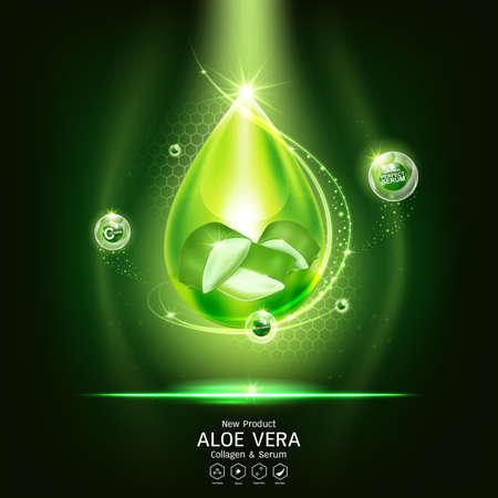 Aloe Vera Serum and Collagen Vitamin Skin Care Cosmetic Background Vector Concept . Ilustracje wektorowe