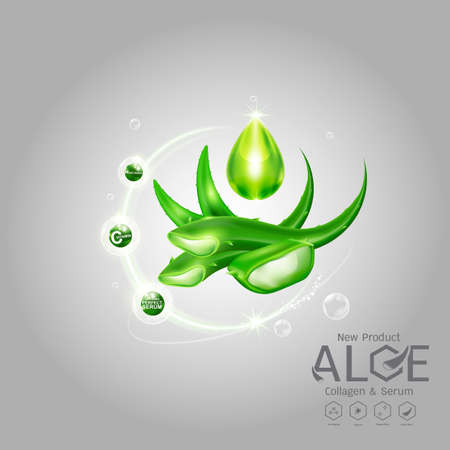 Aloe Vera Serum and Collagen Vitamin Skin Care Cosmetic Background Vector Concept . Banque d'images - 109586273