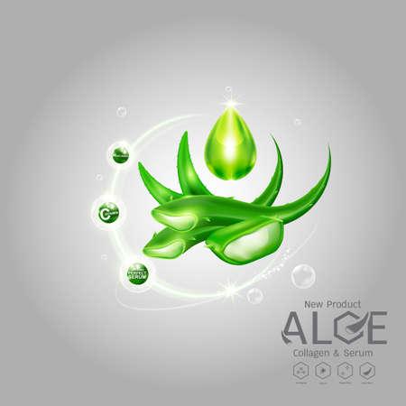 Sérum d'aloe vera et collagène vitamine soins de la peau fond cosmétique concept de vecteur.