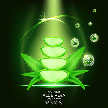 Aloe Vera Serum and Collagen Vitamin Skin Care Cosmetic Background Vector Concept .
