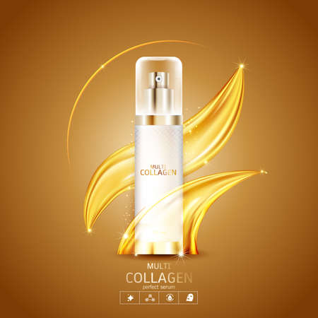 Collagen and Serum Product Vector Concept Beauty Technology for Skin Care Ilustracje wektorowe