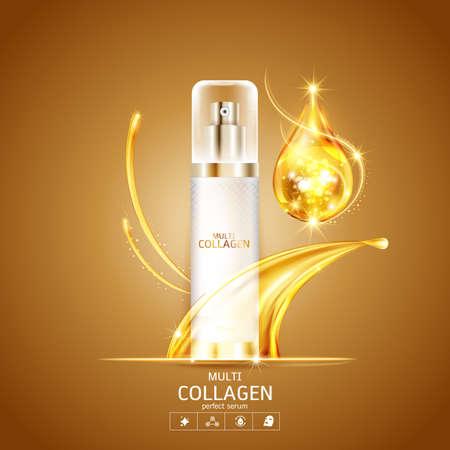 Koncepcja wektora produktu kolagenu i surowicy Technologia piękna do pielęgnacji skóry