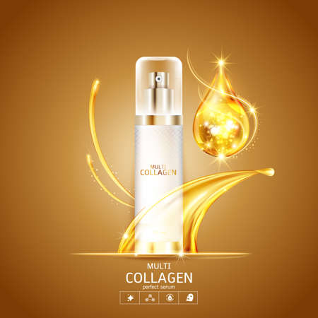 Collagen and Serum Product Vector Concept Beauty Technology for Skin Care Illustration