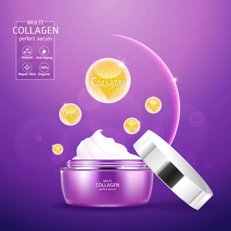 Collagen and Serum Product Vector Concept Beauty Technology for Skin Care  イラスト・ベクター素材