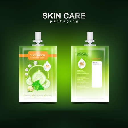 Cucumber Cream Collagen and Serum plus vitamin Vektoros illusztráció