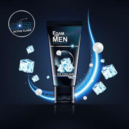 Foam for Men Bottle Products Serum Collagen and Vitamin Background for Skin Care Cosmetics Vector Concept. 矢量图像