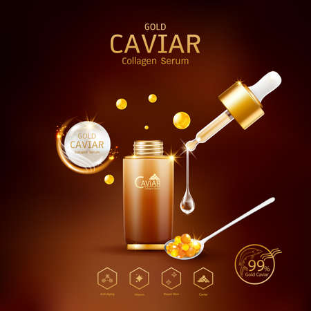 Gold Caviar Collagen Serum and Vitamin Background Vector for Skin Care Products. Stockfoto - 129296488