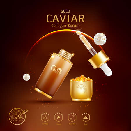 Gold Caviar Collagen Serum and Vitamin Background Vector for Skin Care Products. Stockfoto - 129296490