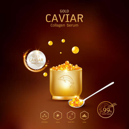 Gold Caviar Collagen Serum and Vitamin Background Vector for Skin Care Products. Stockfoto - 129296491
