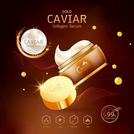 Gold Caviar Collagen Serum and Vitamin Background Vector for Skin Care Products. Stockfoto - 129296535