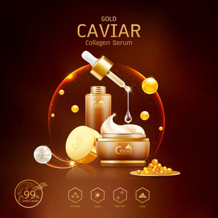 Gold Caviar Collagen Serum and Vitamin Background Vector for Skin Care Products. Stockfoto - 129296549