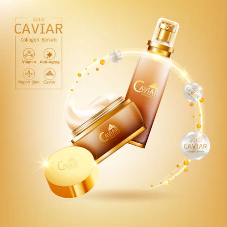 Gold Caviar Collagen Serum and Vitamin Background Vector for Skin Care Products. Stockfoto - 129296551