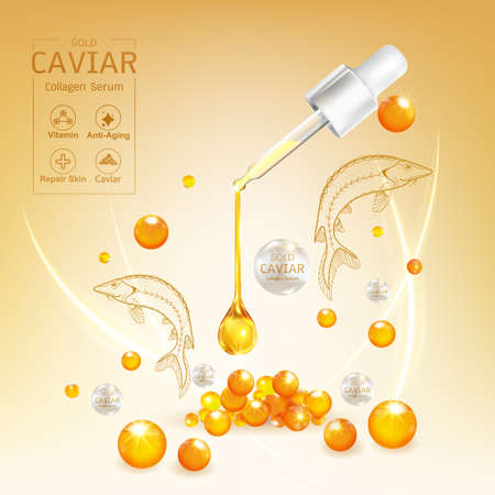 Gold Caviar Collagen Serum and Vitamin Background Vector for Skin Care Products.