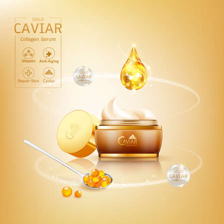 Gold Caviar Collagen Serum and Vitamin Background Vector for Skin Care Products. Stockfoto - 129296548