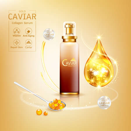 Gold Caviar Collagen Serum and Vitamin Background Vector for Skin Care Products. Stockfoto - 129296555