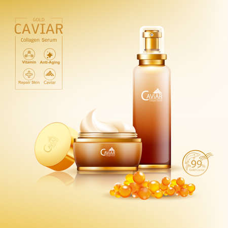 Gold Caviar Collagen Serum and Vitamin Background Vector for Skin Care Products. Stockfoto - 129296572