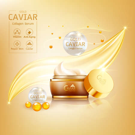 Gold Caviar Collagen Serum and Vitamin Background Vector for Skin Care Products. Stockfoto - 129296571