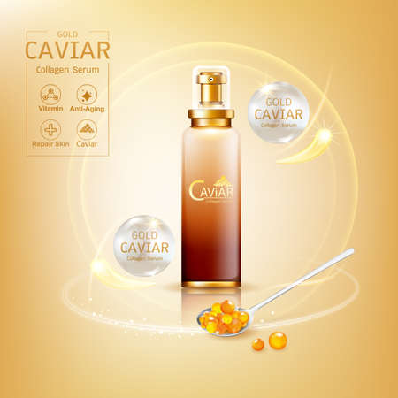 Gold Caviar Collagen Serum and Vitamin Background Vector for Skin Care Products. Stockfoto - 129296576