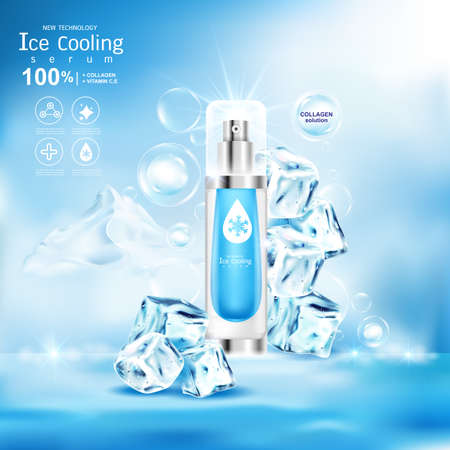 Ice Cooling Serum Collagen and Vitamin Background for Products Concept Skin Care Cosmetic.