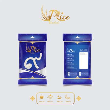 Concepto de fondo y plantilla de empaquetado de diseño de producto de Tailandia de estilo de arroz.