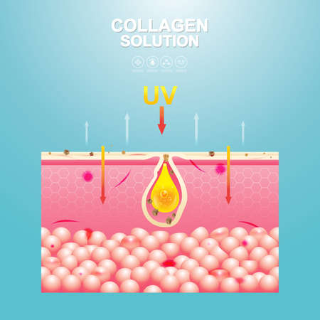 Collagen Solution Serum Drop and Vitamin Background Skin Care Cosmetic concept.