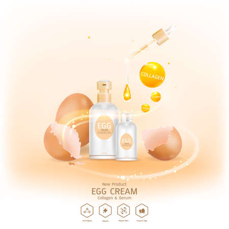 Egg Collagen white Serum and Vitamin Background for Skin Care Cosmetics.