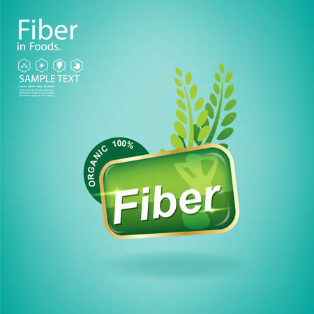 High Fiber and Vitamin in Organic Food  Vector Concept Logo on Green Background Template. Ilustracja