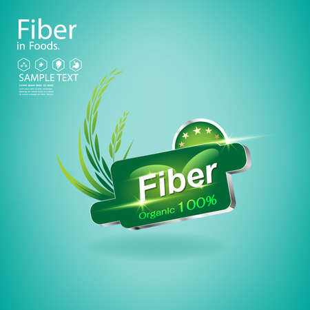 High Fiber and Vitamin in Organic Food  Vector Concept Logo on Green Background Template. 일러스트