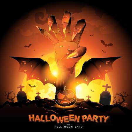 Halloween Party Vector Concept Full Moon Land. Ilustracje wektorowe