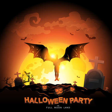 Halloween Party Vector Concept Full Moon Land. Vettoriali