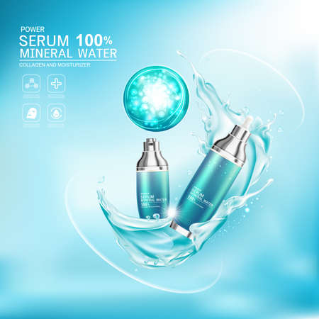 Mineral Water Splash Serum or Collagen Vitamin Vector Background for Skin Care Cosmetic Products. Illustration