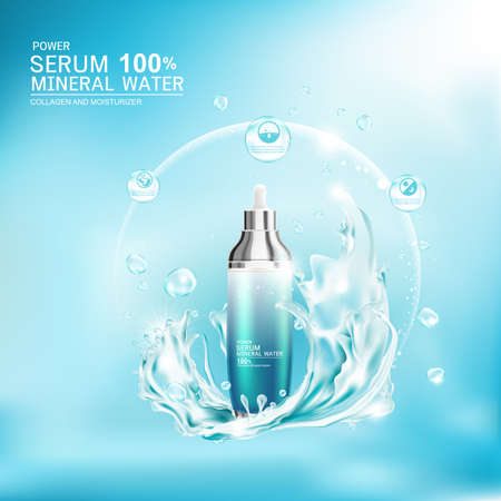 Mineral Water Splash Serum or Collagen Vitamin Vector Background for Skin Care Cosmetic Products.