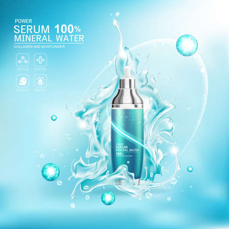 Mineral Water Splash Serum or Collagen Vitamin Vector Background for Skin Care Cosmetic Products. Vector Illustratie