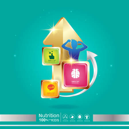 Omega Nutrition and Vitamin - Concept Logo Products for Kids. Stock Illustratie