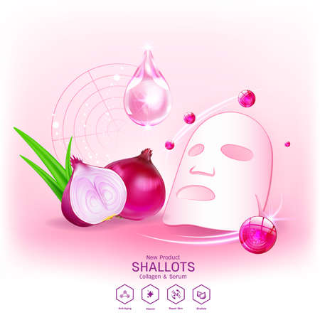 Shallots Extract for Skin Care, Collagen Serum and Vitamin Vector Concept Background Cosmetic Products.