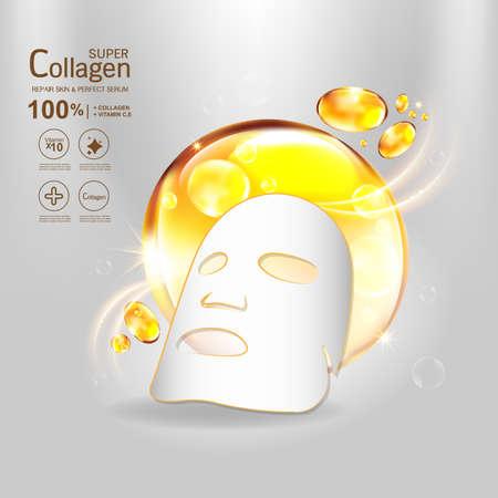 Collagen Serum and Vitamin Background Concept Skin Care Cosmetic. Stock Illustratie