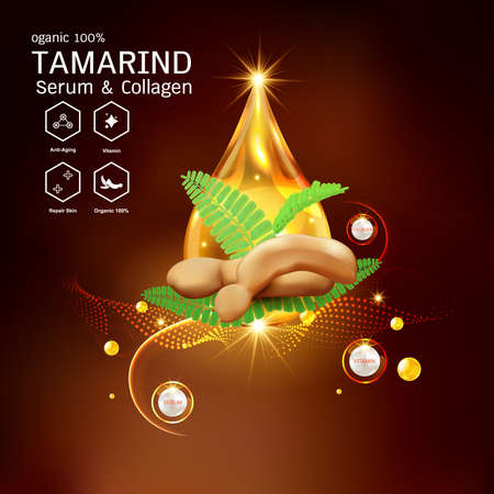 Tamarind Serum or Collagen and Vector Background Concept for Skin Care Cosmetic Products. Stock Illustratie
