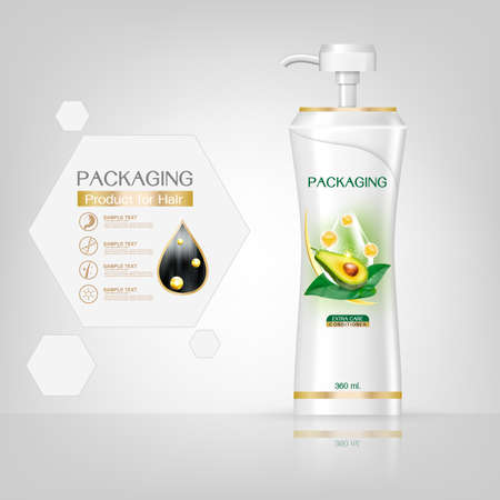 Packaging products Hair Care design, shampoo bottle templates on White background