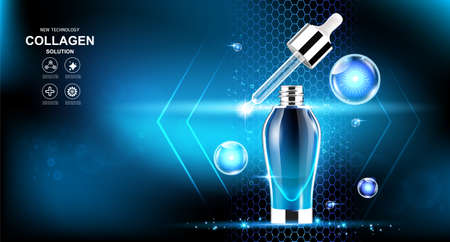 Mineral Water Collagen Serum Vector Background for Skin Care Products.
