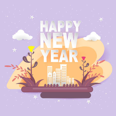 Happy New Year Paper Cutting Art Vector.
