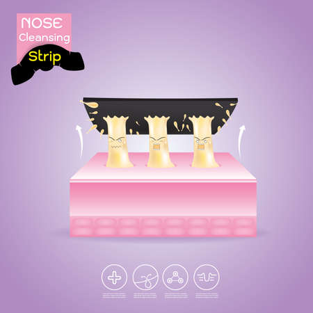 Nose Cleansing Strip Vector, Concept Product  with Acne Problem on Nose.
