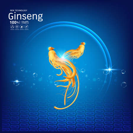 Ginseng Collagen or Serum and Vitamins Background Concept Skin Care Cosmetic. Ilustrace