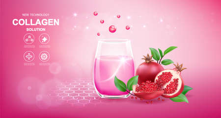 Collagen and Vitamins Repair Skin, Vector Background for Daily Supplement Products