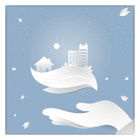 save the world vector paper cutting concept.