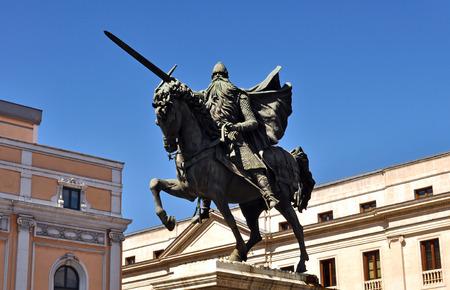 cid: Statue of El Cid mounted on horseback with sword in Burgos Stock Photo