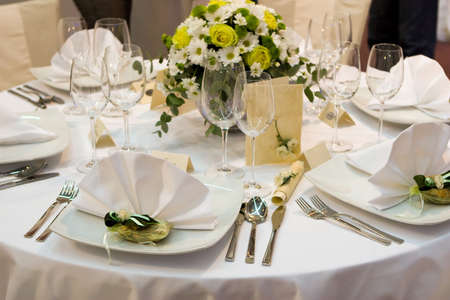 restaurant setting: Fancy table set for a wedding dinner Stock Photo