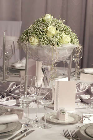 wedding table setting: Detail of a fancy table set for wedding dinner Stock Photo