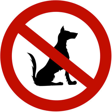 restricted: Restricted for dogs (illustration sign)