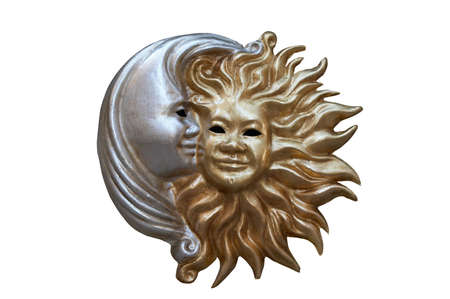 Night and day - sun and moon carnival mask